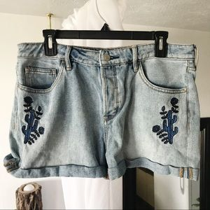 Pacsun Jean Shorts with Blue Cactus Embroidery